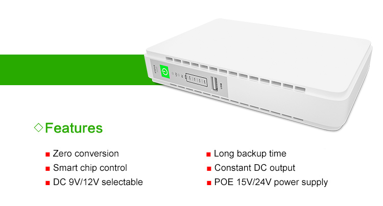 UPS DC Output 9v 12v POE 15v 24v USB 5V Power Bank for Modem